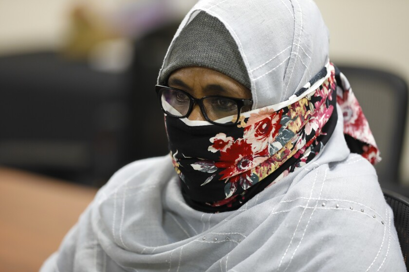 Hindi Mohamed, 50, got help applying for food stamps from Somali Family Service, a nonprofit that helps the 20,000 or so Somali refugees living in the region. Mohamed, a divorced mother of six, is unemployed and relies on the income of her son, who is a security guard.