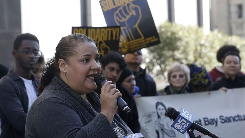 Martha Arévalo, executive director of the Central American Resource Center in Los Angeles, speaks at