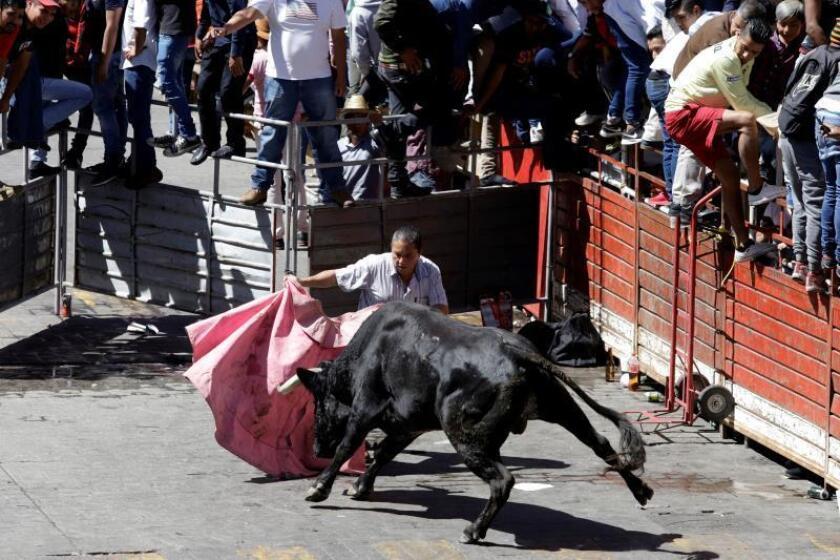 """Personas participan este sábado en la tradicional corrida de toros callejera """"Huamantlada"""", en el estado de Tlaxcala (México). EFE/ Hilda Ríos"""