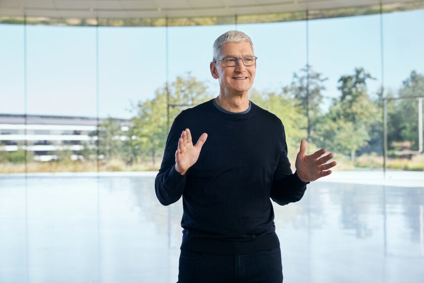 Apple CEO Tim Cook at an Apple press event in October.
