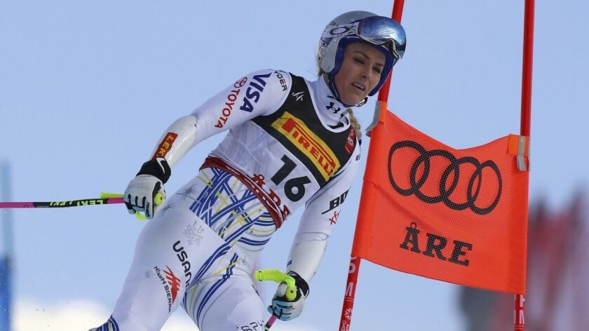 United States' Lindsey Vonn comes down the slope after crashing during the women's super G at the al