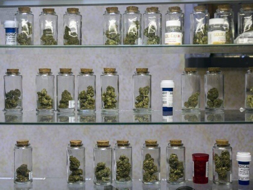 Medical marijuana vials are displayed at a dispensary in Venice.
