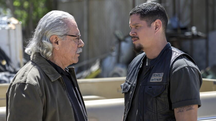 "Edward James Olmos, left, and JD Pardo in the season premiere of ""Mayans M.C."" on FX."