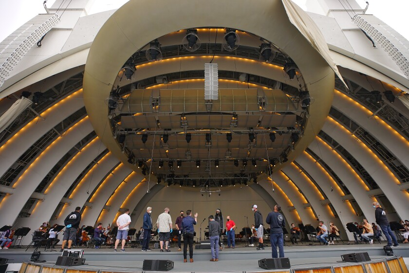 Workers onstage at the Hollywood Bowl