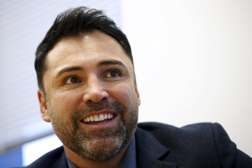Boxing promoter and former boxer Oscar De La Hoya speaks during an interview with Reuters in New York