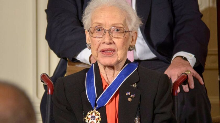 Former NASA mathematician Katherine Johnson after receiving the Presidential Medal of Freedom from President Obama in 2015.