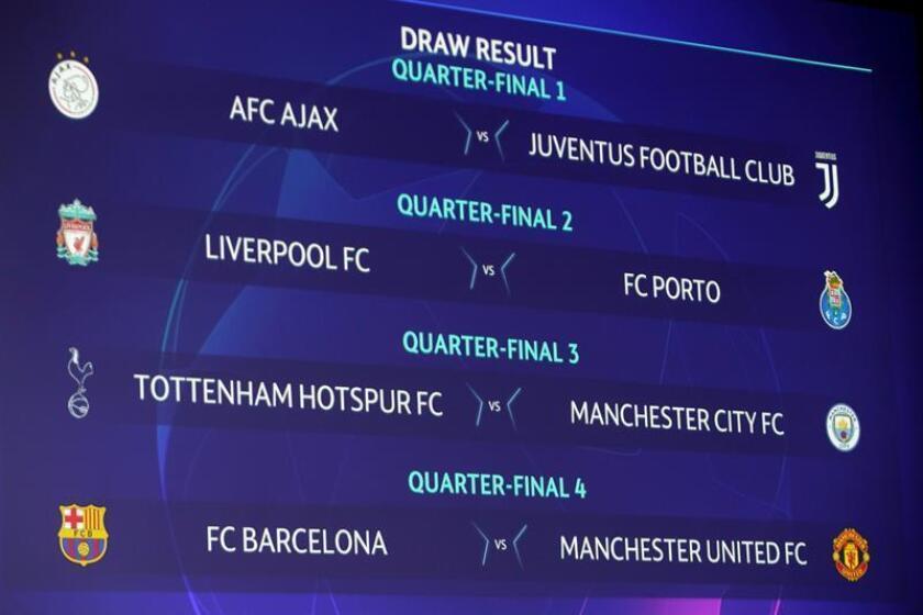 Resultado del sorteo de cuartos de final de la Liga de Campeones celebrado este viernes en la sede de la UEFA en Nyon, Suiza. EFE