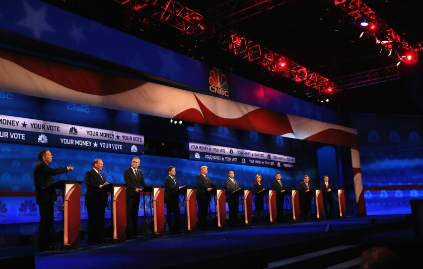 Ten Republicans take part in the main debate Wednesday night in Boulder, Colo. Four others competed in an earlier forum.