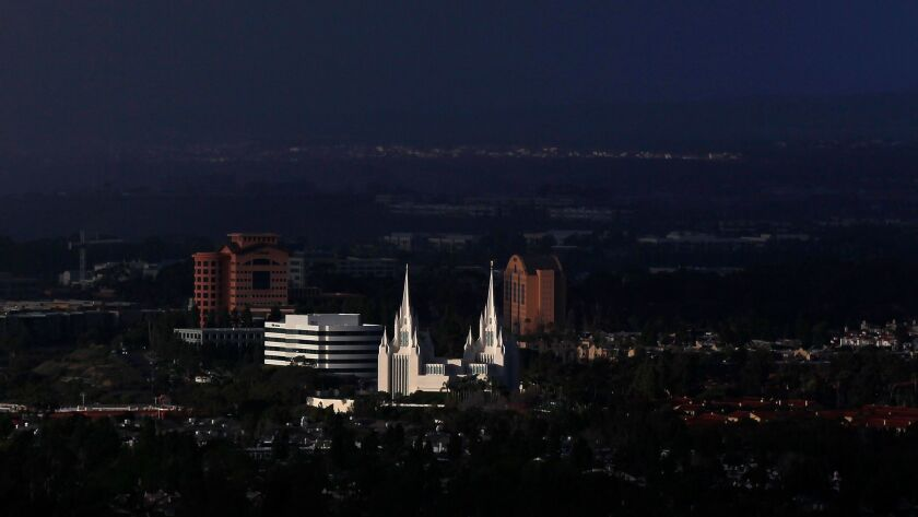 SAN DIEGO, CA - MARCH 7, 2015 - | Late afternoon light shines on the San Diego California Temple in