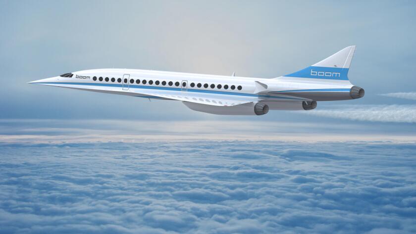 Representación de un avión supersónico de pasajeros llamado Boom, que será construido con compuestos de la fibra de carbón.