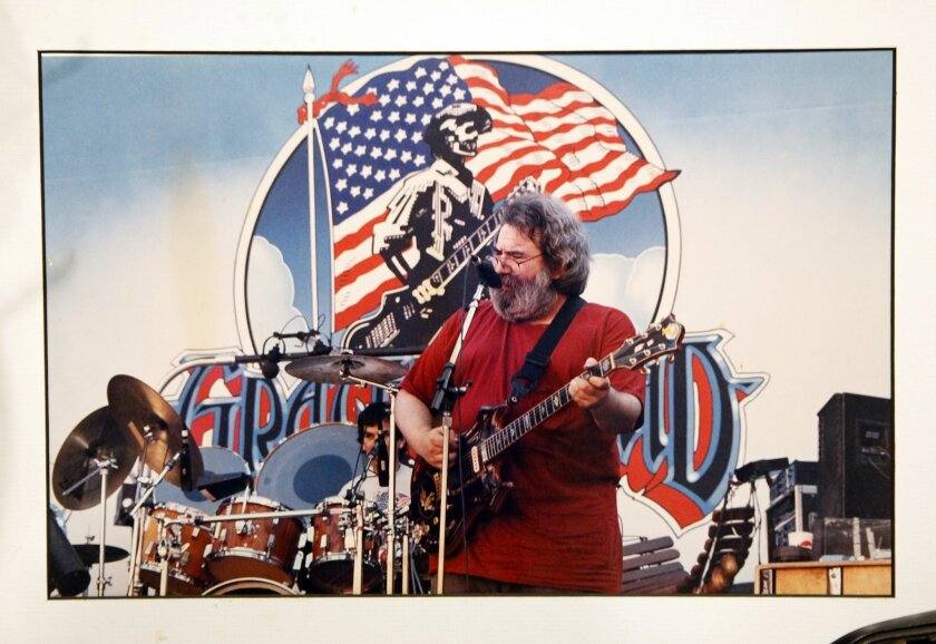 Grateful Dead drummer Mickey Hart and guitarist-singer Jerry Garcia are shown in concert.