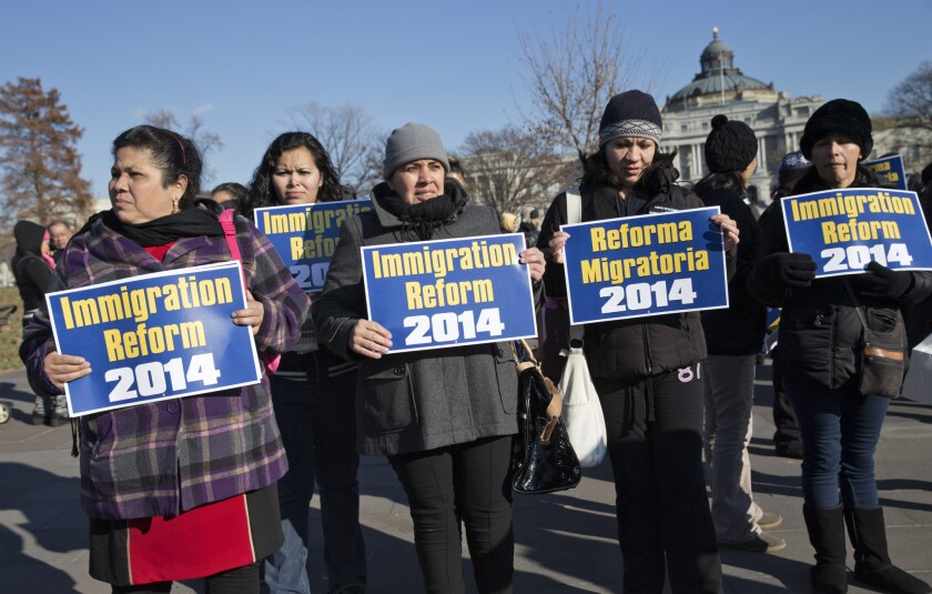 Immigration activists demonstrate on Capitol Hill in Washington.