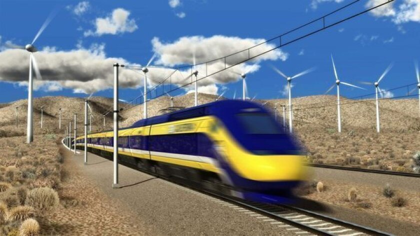 An artist's rendering from July 2012 by the California High-Speed Rail Authority of the promised bullet train.