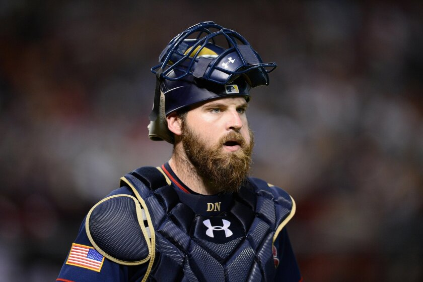 San Diego Padres catcher Derek Norris (3) looks on during the third inning against the Arizona Diamondbacks at Chase Field. (Joe Camporeale/USA TODAY Sports)