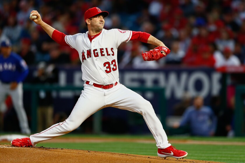 ANAHEIM, CALIF. - APRIL 04: Los Angeles Angels starting pitcher Matt Harvey (33) pitches against the