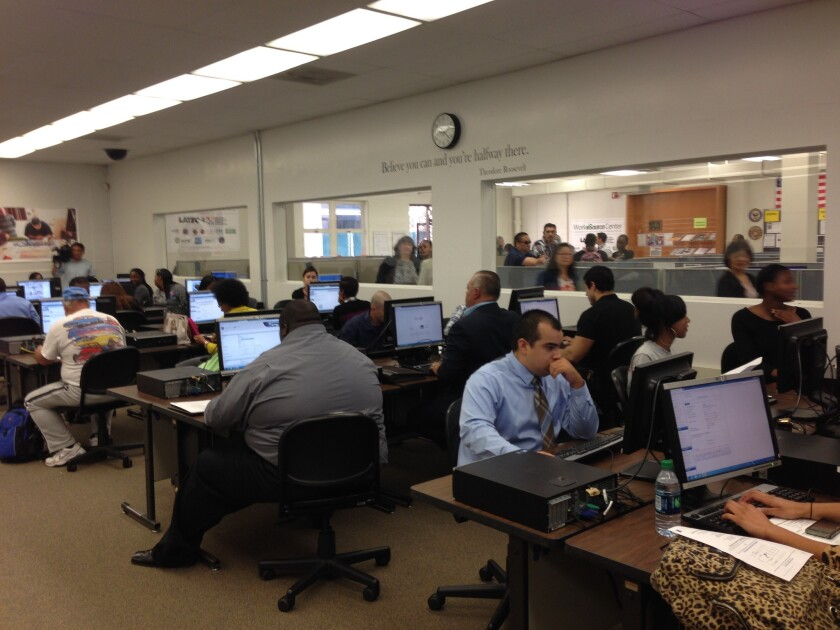 Job seekers test out the city's online job portal in the new WorkSource Center at Los Angeles Trade Technical College.