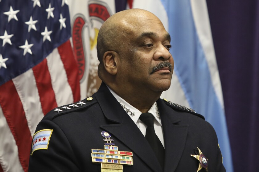 """FILE - In this Nov. 7, 2019 file photo, Chicago Police Superintendent Eddie Johnson speaks at a news conference in Chicago. An inspector general's report concluded Thursday, July, 16, 2020, that Johnson drove a city vehicle while under the influence of alcohol and lied about the incident that led to his December firing. Johnson was found asleep behind the wheel of his police car in October after consuming """"several large servings of rum"""" at a downtown restaurant with a member of his security detail, according to the Chicago Office of the Inspector General. (AP Photo/Teresa Crawford File)"""