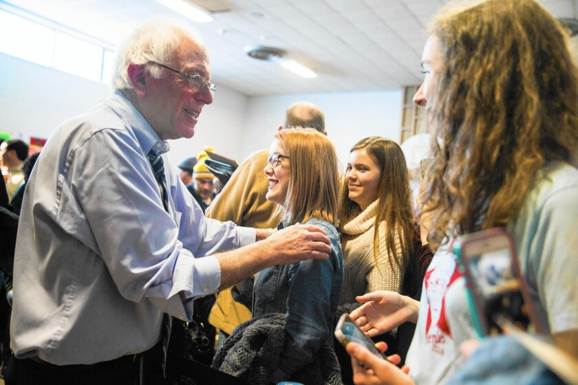 Bernie Sanders campaigns in Knoxville, Iowa, on New Year's Eve
