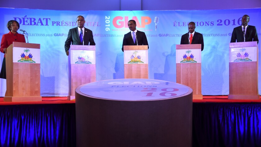 Candidates for Haiti's presidency participate in a debate in September 2016. The vote was postponed indefinitely due to Hurricane Matthew.