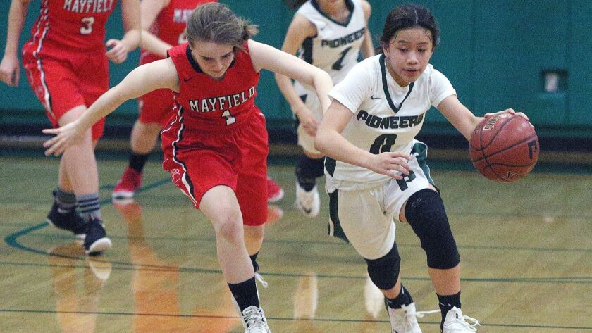 Providence's Audrey Sayoc takes off on a fast break with Mayfield's Courtney Gangi in pursuit in a P