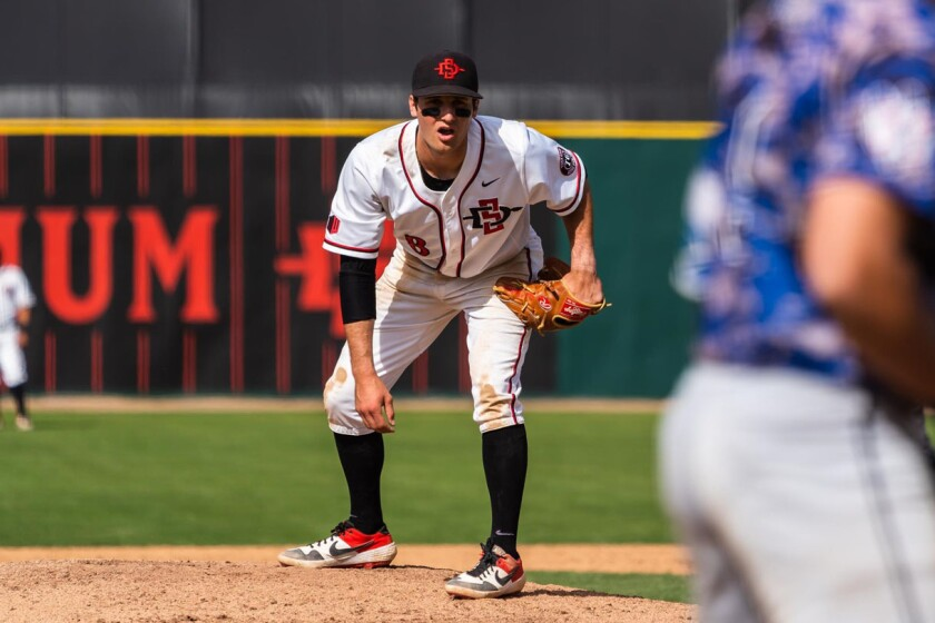 San Diego State junior Casey Schmitt comes in from third base to close out games in the ninth inning.