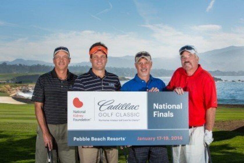 First Place, 2014 NKF Cadillac Golf Classic, Pebble Beach, California - (Left to right) Mark Upchurch, Dan Mezich, Steve Jones and Cortie Dove.