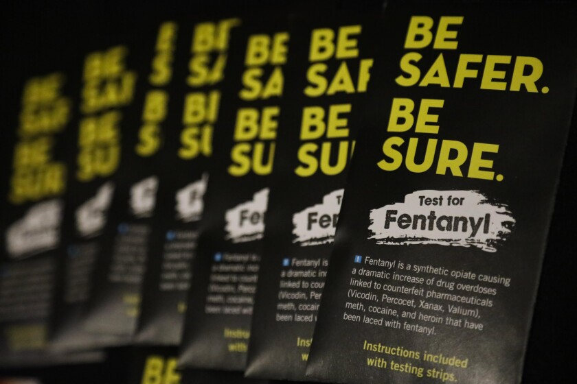 Samples of strips that test for fentanyl.