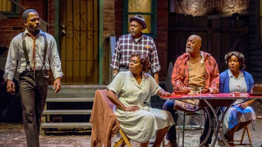 "Ro Boddie, Milena Phillips, Grandison Phelps III, Antonio TJ Johnson and Yolanda Franklin (from left) in Cygnet Theatre's ""Seven Guitars."""