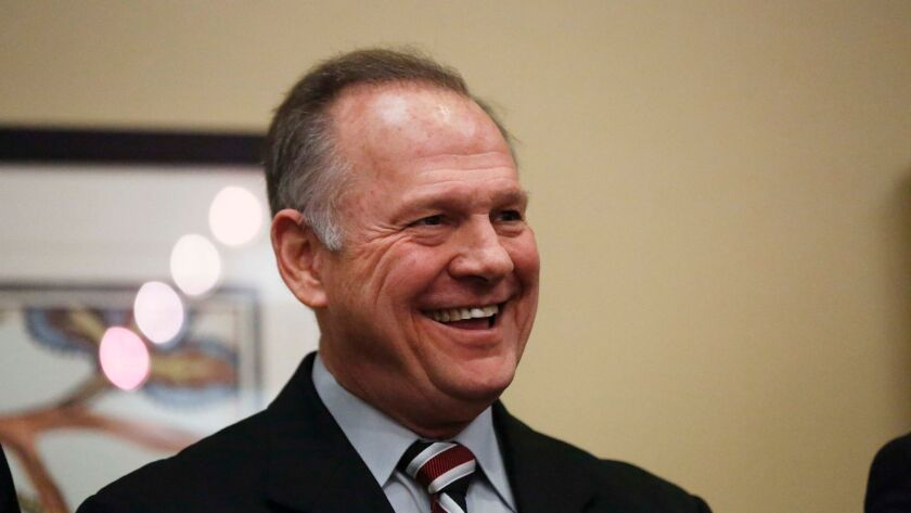 Former Alabama Chief Justice and U.S. Senate candidate Roy Moore at the Vestavia Hills Public library on Nov. 11 in Birmingham, Ala.