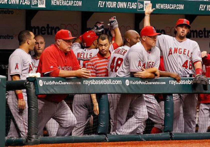 Angels players and coaches in the dugout during Wednesday's game against Tampa Bay.