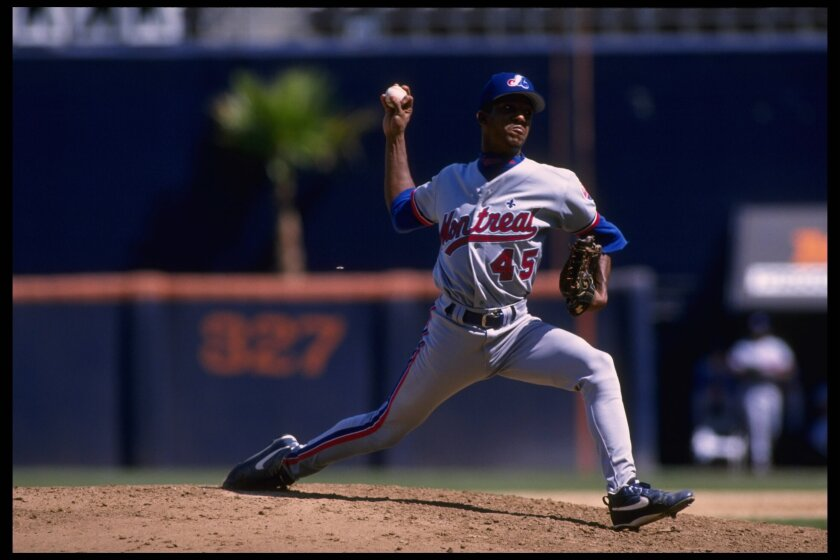 Pedro Martinez of the Montreal Expos delivers a pitch against the Padres at Jack Murphy Stadium in August 1995.
