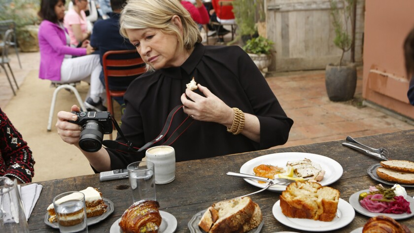 Martha Stewart samples the pastries at Gjusta in Venice.