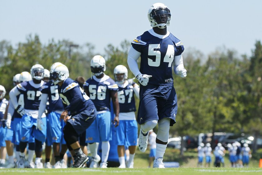 Chargers Melvin Ingram runs a drill during mini camp.