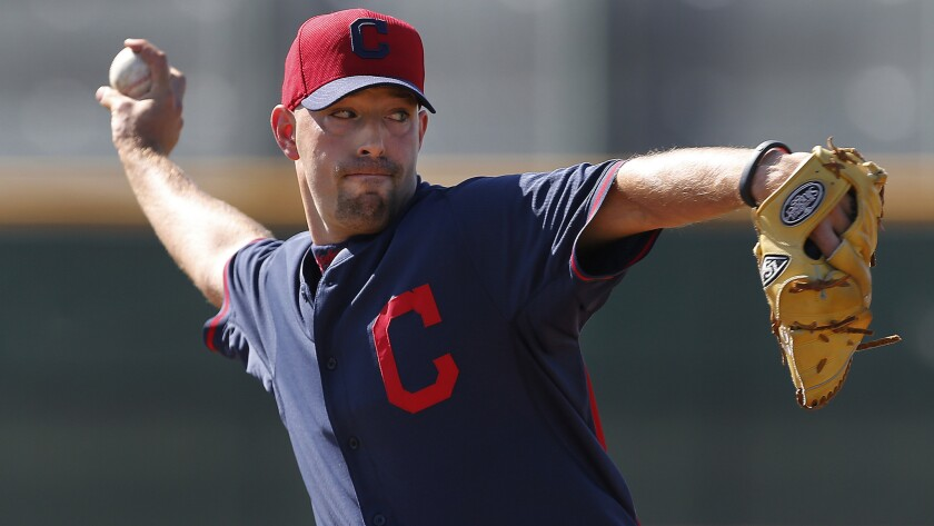 Cleveland Indians pitcher David Aardsma throws during a spring training practice session on Feb. 24, 2014. Will Aardsma find a place in the Dodgers' bullpen this season?