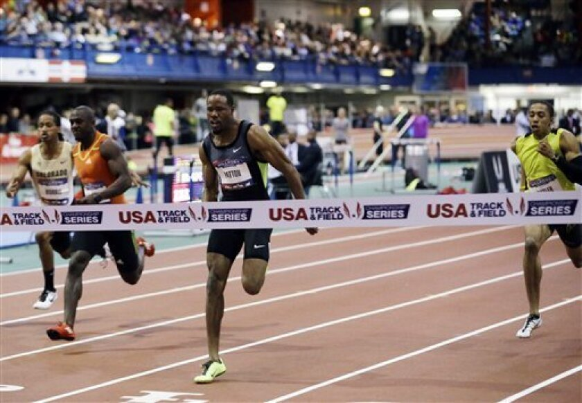 Doc Patton wins the 60-meter dash with a time of 6.50 seconds during the 106th Millrose Games on Saturday, Feb. 16, 2013, in New York. (AP Photo/Frank Franklin II)