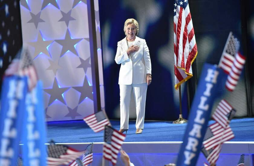 Hillary Clinton onstage at the Democratic National Convention in Philadelphia.
