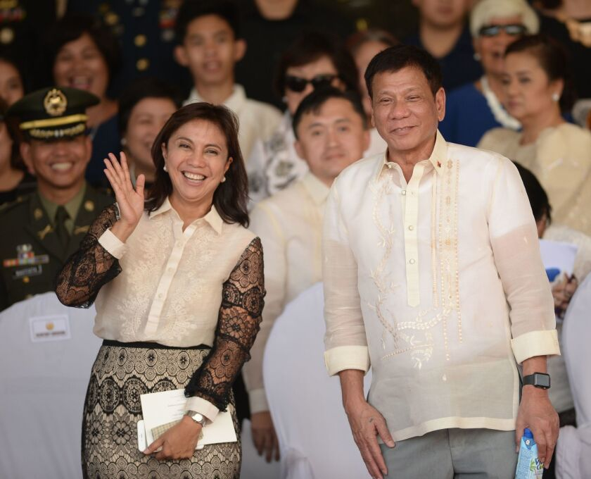"Philippine Vice President Maria Leonor ""Leni"" Robredo with President Rodrigo Duterte in July 2016."