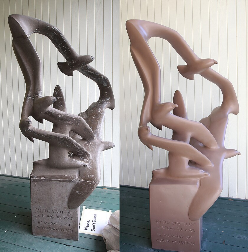 """""""Seagulls in Flight"""" sculpture outside the Corona del Mar branch of the Newport Beach Public Library before its restoration, left, and after."""
