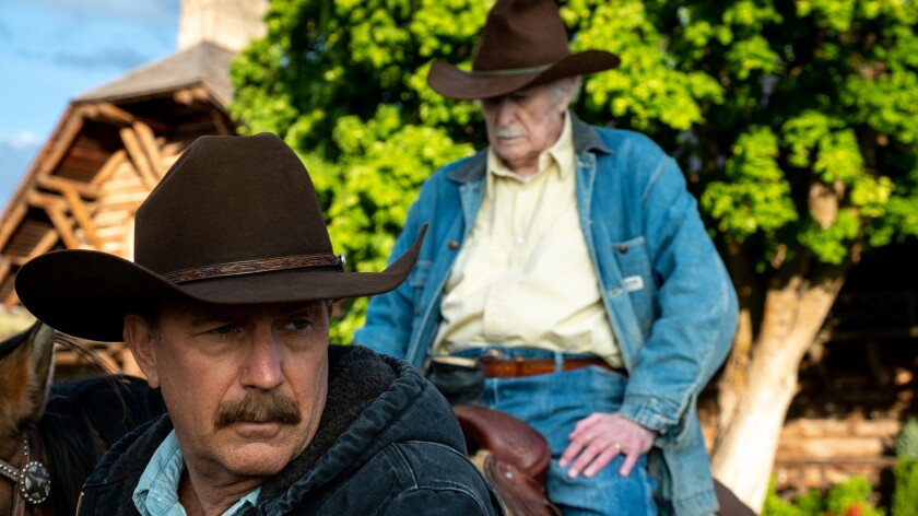 """Kevin Costner, left, and Dabney Coleman in """"Yellowstone"""" on Paramount."""