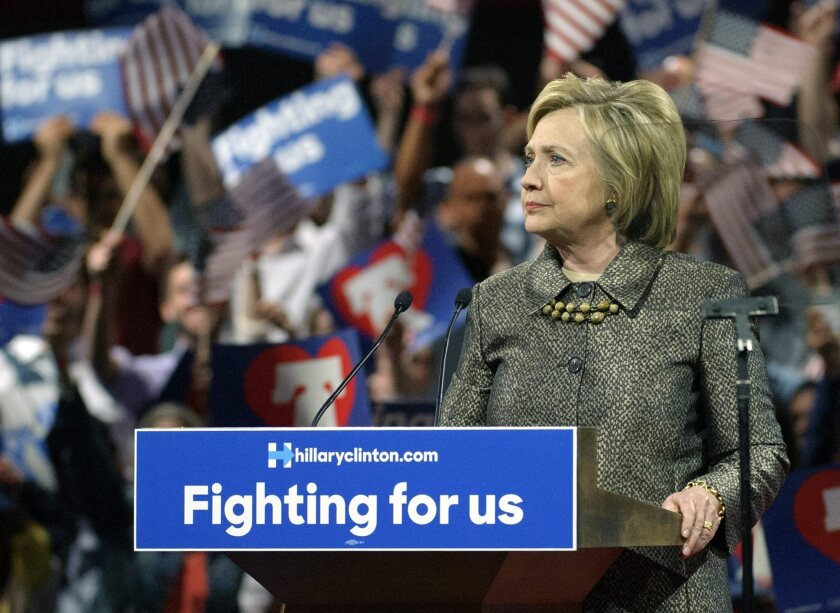 Hillary Clinton speaks during a primary night event in Philadelphia.