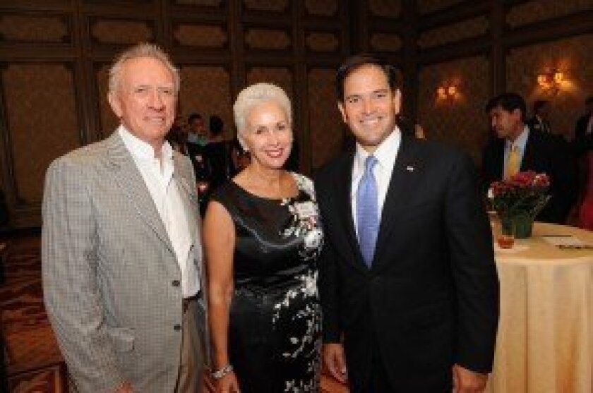 Hudson and Mary Drake, Sen. Marco Rubio. Photo/Jon Clark