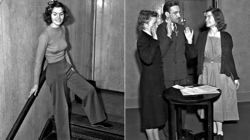 Helen Hulick, a burglary witness, caused a stir in a downtown L.A. courtroom in 1938 by wearing slacks. At right, Hulick, wearing a jail-issued dress, her attorney William Katz and notary Jeanette Dennis work on getting her released.