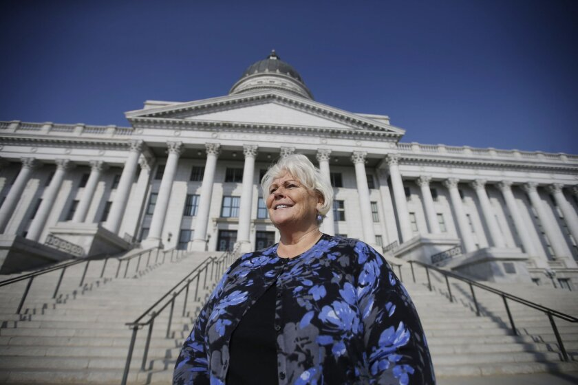 Utah Rep. Susan Duckworth, D-Magna, poses for a photograph at the Utah State Capitol Tuesday, Feb. 9, 2016, in Salt Lake City. Utah is one of the latest states to consider making tampons and other feminine hygiene products tax-free, diving into an international debate on whether women are penalized