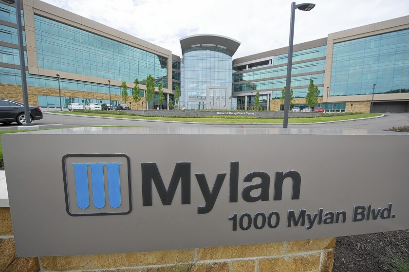 Mylan Pharmaceuticals, based in Canonsburg, Pa., is accused of conspiring with two other drug companies to raise the price of clomipramine, which is used to treat obsessive-complusive disorder.