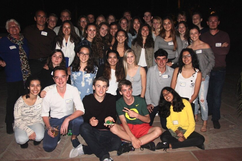 "French exchange students enjoy a ""Bon Voyage Party"" at Dennis and Mary-Ellen Hardin's house in Rancho Santa Fe."
