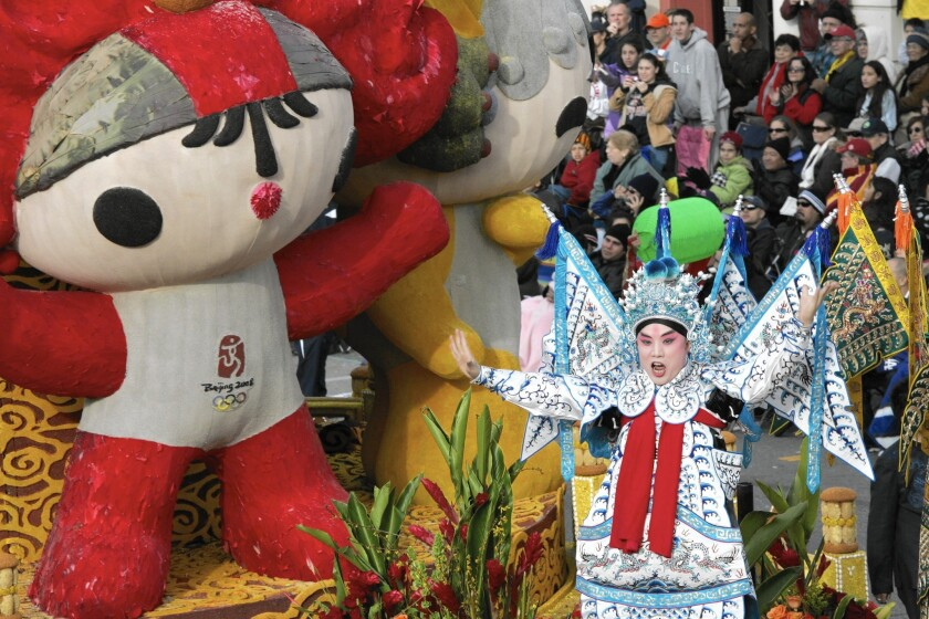 """Human-rights organizations hoped to use the 2008 Rose Parade's most controversial entry, """"One World, One Dream,"""" featuring the five official mascots of the Beijing Olympics, as a rallying point for protests over China's human-rights record."""