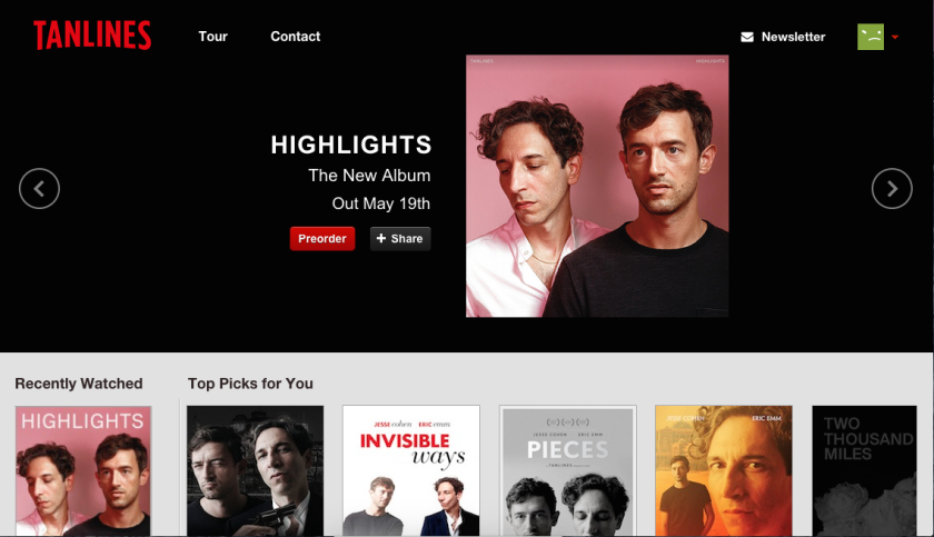 """Tanlines has a mock-Netflix site for its new album """"Highlights."""""""