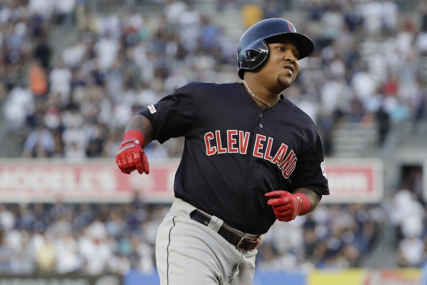 Indians slugger Jose Ramirez rounds the bases after hitting a grand slam against the Yankees on Aug. 15 in New York.