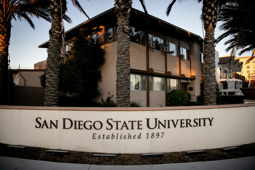 The former Phi Gamma Delta fraternity house at San Diego State University on Wednesday, Nov. 11, 2020 in San Diego, CA.