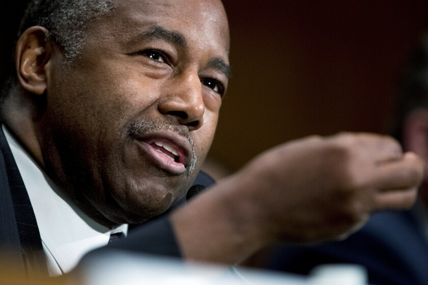 Housing and Urban Development Secretary Ben Carson speaks in Washington, D.C., on Sept. 10. The Trump administration took steps Tuesday to roll back an Obama-era rule on housing desegregation.